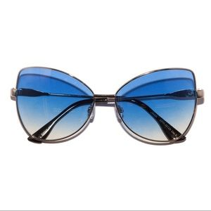 Retro 70s Blue Ombré Metal Frame Sunglasses
